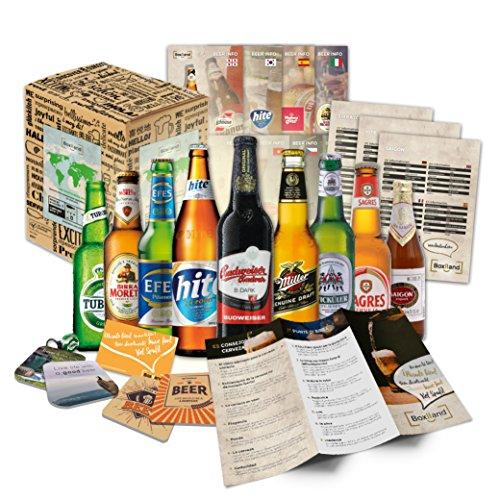 Biere der Welt Geschenkidee für Männer INKL Bierdeckel Geschenkkarton Bier Info Biergeschenk für Männer oder als ausgefallene Geschenke für den Freund Die perfekte Geschenkidee für Männer 9x0,33l