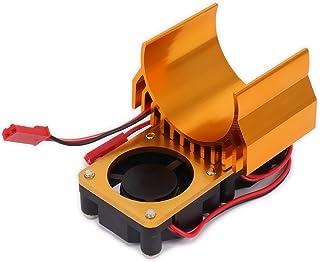 RCAWD Motor del disipador de calor del disipador de calor N10110 540/545/550 Tamaño con 2 ventiladores Ventilador Aluminio de la aleación de JST para 1/10 RC Modelo del 1Pcs(oro)