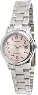 Casio Womens Quartz Watch, Analog Display and Stainless Steel Strap LTP-V002D-4BUDF