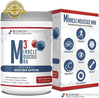 BioNox Nutrients M3 Miracle Molecule Max - Cardiovascular Support Nitric Oxide Powder - L Arginine + L Citrulline + Beets - No Caffeine, Blood Pressure Support Supplement - Great Taste 30 Days