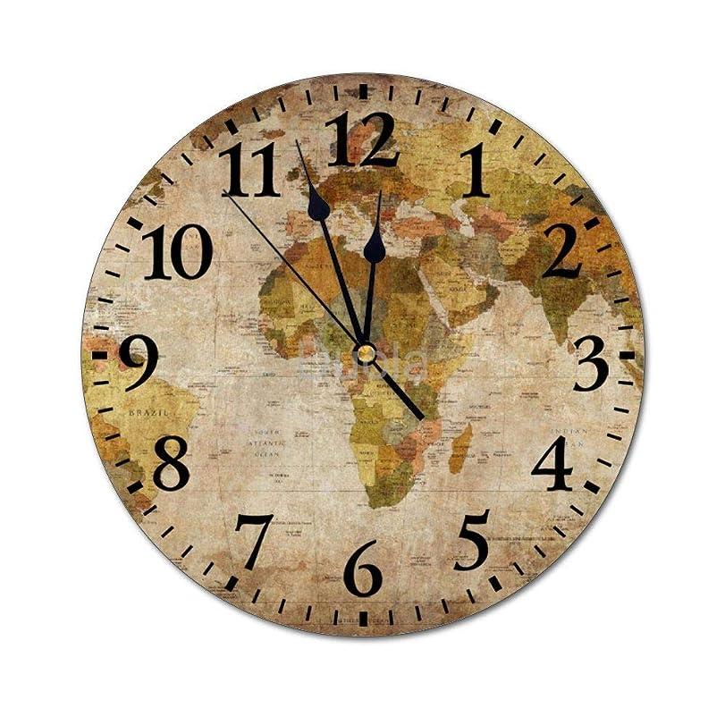 ひそかに振り返る出発世界地図 ワールドマップ オフィススクールの家の装飾のために作動する壁時計の無声電池