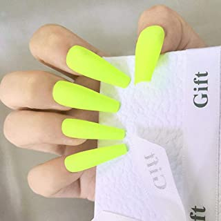 Poliphili 20 Pcs Matte Pure Color Super Long Removable Wear Fake Nails Ballerina Coffin Extra Long Art Manicure Tips Full ...