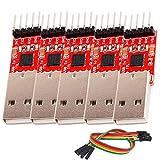 AZDelivery 5 x CP2102 USB a TTL Convertidor HW-598 para 3,3V y 5V con cable puente Jumper con eBook incluido