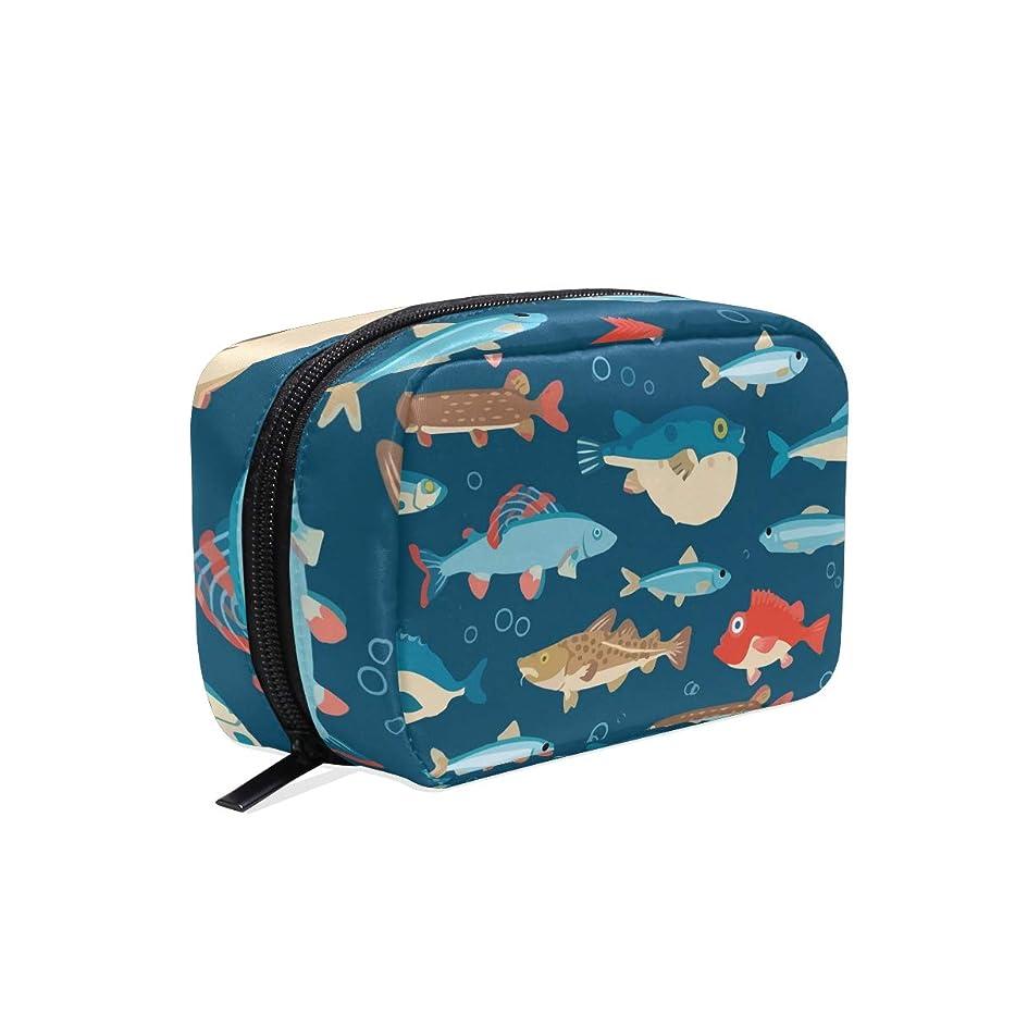 河豚 魚 化粧ポーチ メイクポーチ コスメポーチ 化粧品収納 小物入れ 軽い 軽量 旅行も便利 [並行輸入品]