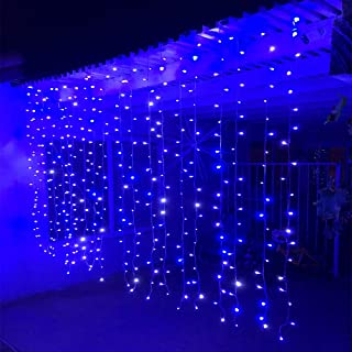 Alion Home Curtain Lights 2-in-1 Dual Color 400-Count LED String Light Wedding Party Outdoor Indoor Decorations - 10 ft W × 6 ft H (1, Cool White+Blue)
