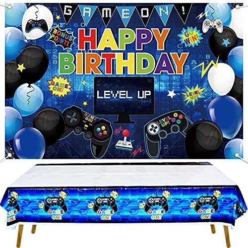 KEFAN Fondo de Fiesta de cumpleaños de Videojuegos y Paquete de Cubierta de Mesa, Juego de Feliz cumpleaños en el Fondo, Cubierta de Mesa de plástico con Tema de Juegos (Azul)