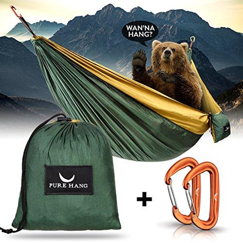 PURE HANG Premium XXL Hammock Double Camping Outdoor - Lightweight Nylon Portable 2-4 person - Strongest Parachute Hammock Backpacking Garden Hiking Travel Beach Yard