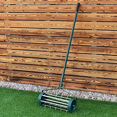 COSTWAY Lawn Spike Aerators - Manual Grass Roller, Rotary Push Tine...