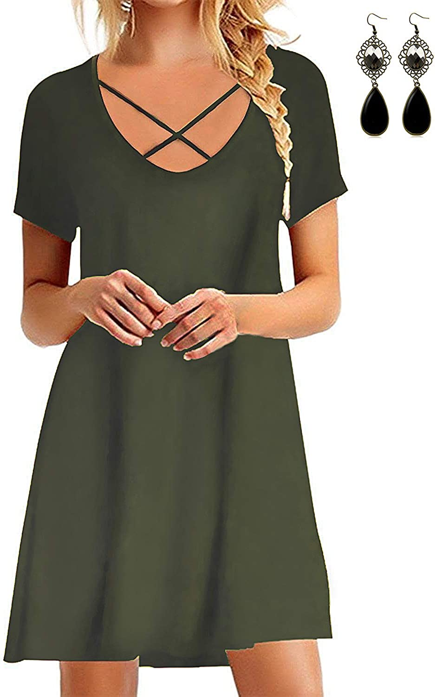 WAEKIYTL Women's V Neck Criss Cross Casual T Shirt Dress Short Sleeve Loose Tunic Tops with Pocket
