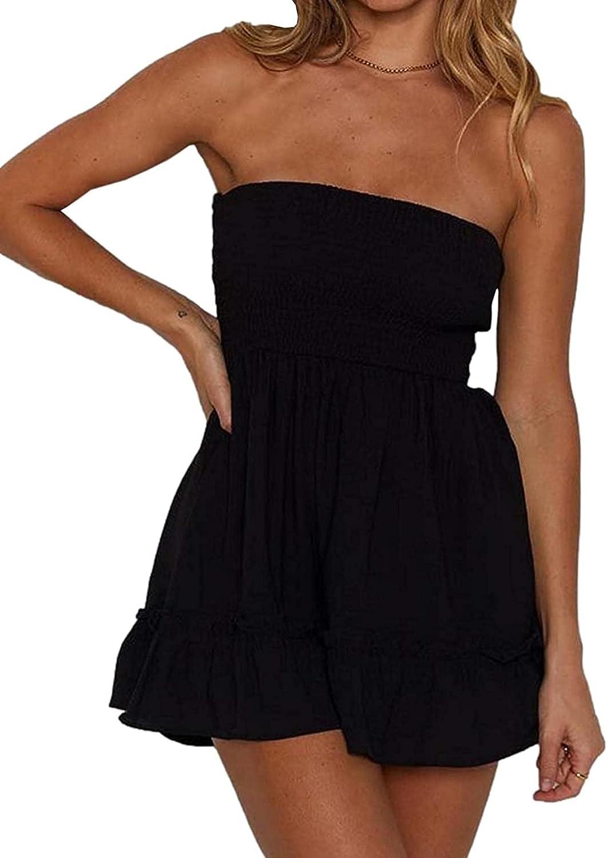 Women's Smocked Tube Top Ruffle Mini Dress Strapless Back Stripe Cutout Elastic Bust Aline Skater Beach Sundress