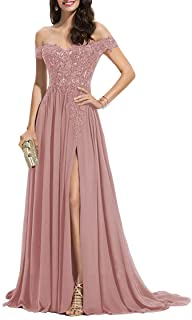 Sponsored Ad - Miao Duo Women's Off The Shoulder Long Prom Dresses with Slit Lace Appliqued Chiffon Formal Party Gowns MD8542