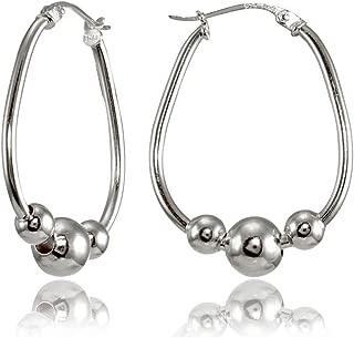 Sterling Silver Polished Beaded 18mm Hoop Earrings
