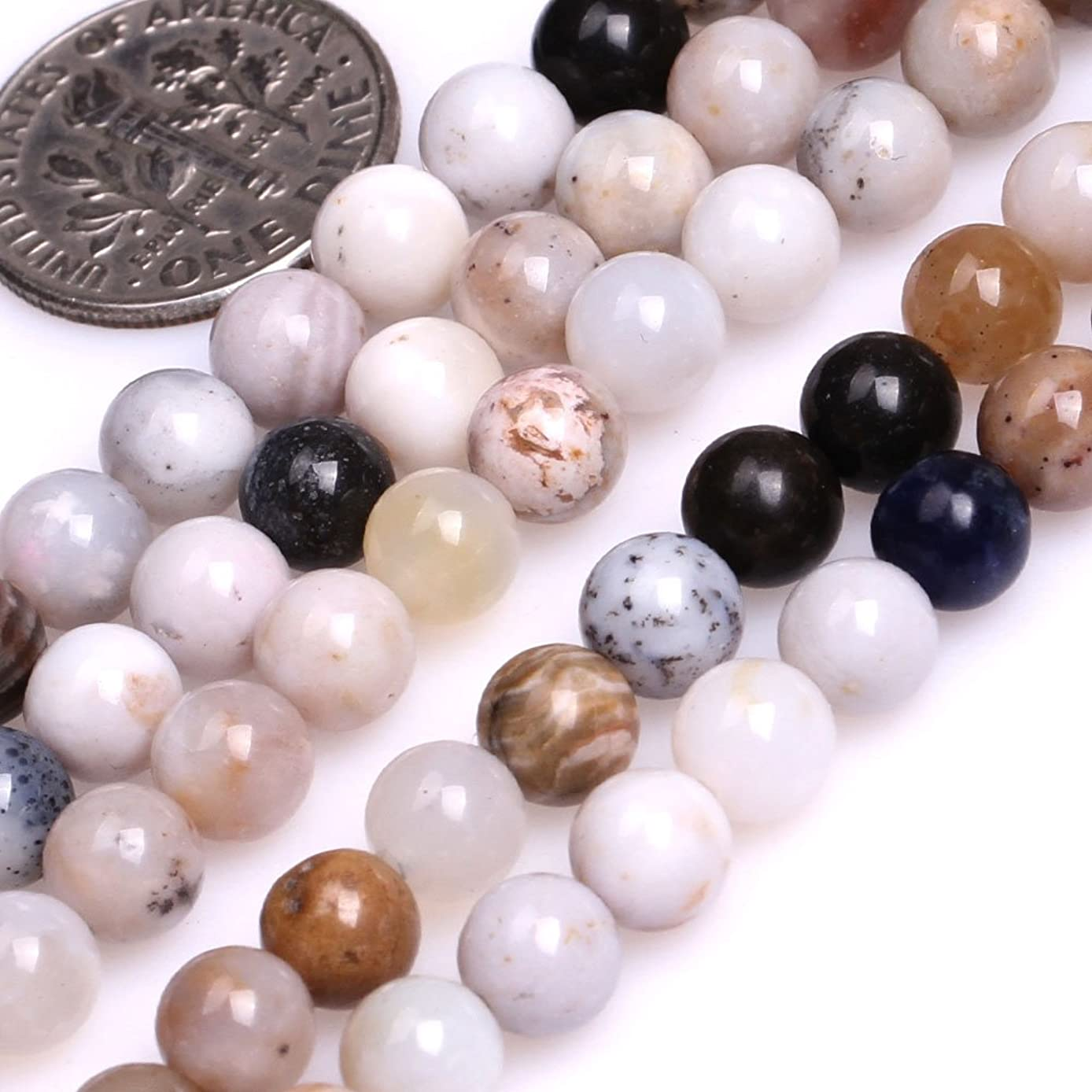 GEM-inside Natural 6mm Round Multicolored Dendritic Agate Beads for Jewelry Making Strand 15