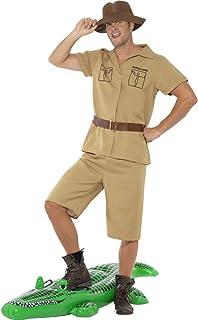 Disfraz para hombre de colour caqui de disfraces de animales de la selva Safari camisa tropical sombrero de cazador de África Safari pantalones de traje de los investigadores Expedition disfraz de carnaval de viaje para disfraz de hombre