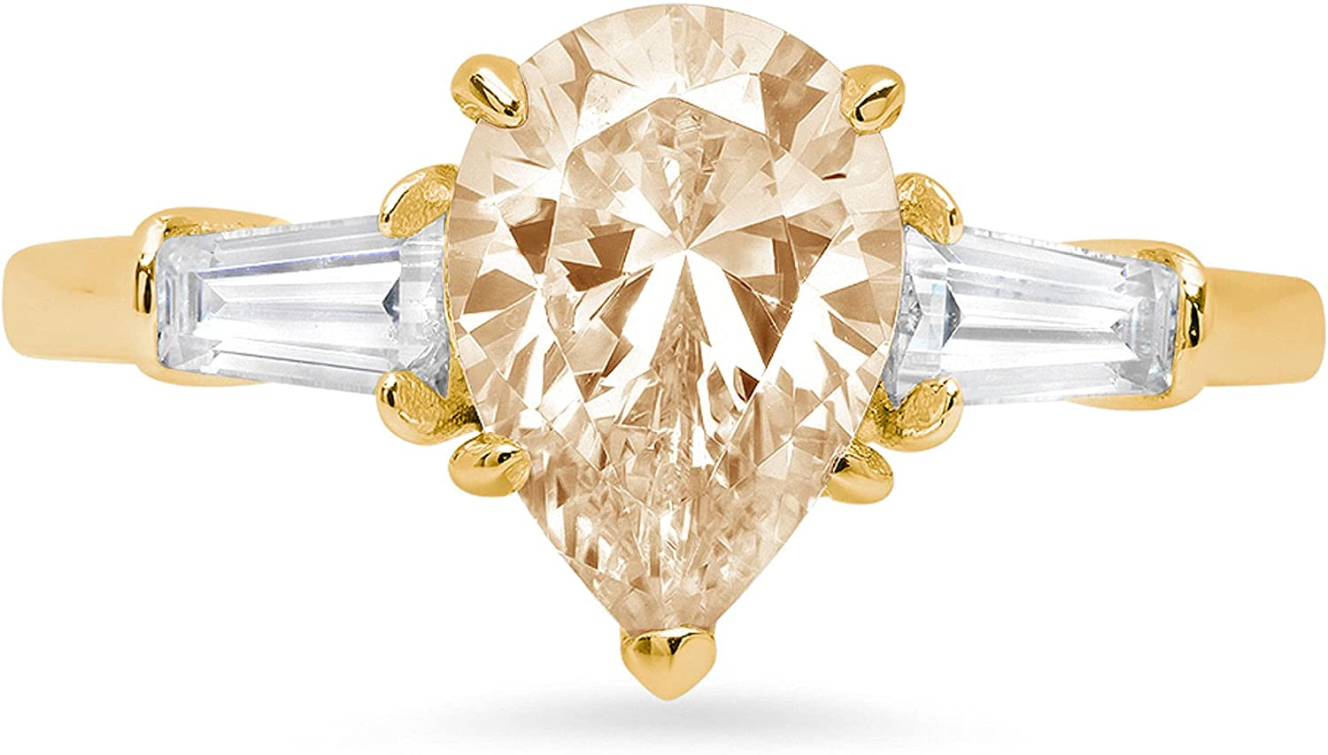 2.55 ct Pear Baguette cut 3 stone Solitaire with Accent Stunning Genuine VVS1 Simulated Yellow Moissanite Modern Promise Statement Designer Ring 18K Yellow Gold