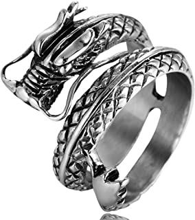 SAINTHERO Men's Vintage Gothic Stainless Steel Band Rings Silver Black Chinese Dragon Punk Biker Rings Size 7-13