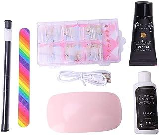 Conjunto de herramientas de arte de uñas, herramienta de extensión de manicura de gel de extensión de archivo de lámpara de secador de uñas(café)