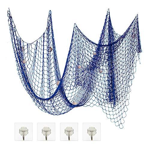 ZERHOK Foto hängende Wanddekoration Fischernetz deko mit Muscheln DIY Bilderrahmen Netz Maritime Stil für Schlafzimmer Restaurant Bar (Blau)