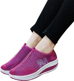 2019 Nuevo Moda Zapatillas Mujer, Zapato Deporte Con Plataforma Cuña En Suelas Cómodas Calzado Sin Cordones De Malla Trans...