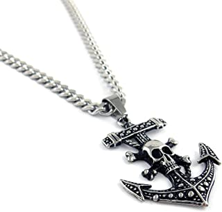 Vintage Stainless Steel Jewelry Pirate Skull Anchor...