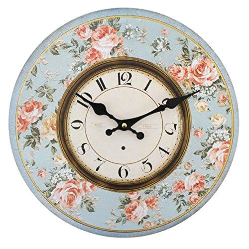 kingofprezzies.com Reloj de Pared Redondo, Bonito, Estilo rústico, Shabby Chic Vintage