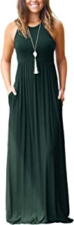 GRECERELLE Women's Sleeveless Racerback and Long Sleeve Loose Plain Maxi Dresses Casual Long Dresses with Pockets