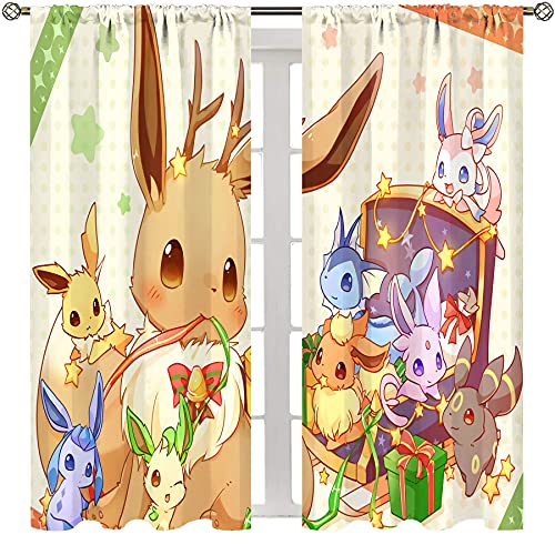 SSKJTC Blackout Rod Pocket Curtains for Bedroom Bigjpg_4X_Art_Highest_Pokemon Eevee Playing With His Children Curtains for Living Room Kids Room W72xL63 Inch