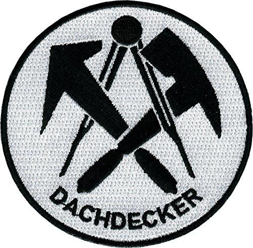 JOB Stick-Aufnäher Patch Zunft Emblem Wappen DACHDECKER Ø 8 cm schwarz/weiß