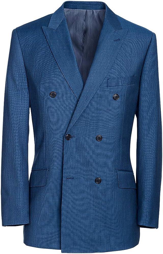 Paul Fredrick Men's Classic Fit Sharkskin Double Breasted Peak Lapel Suit Jacket
