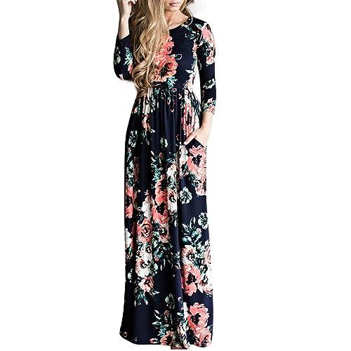 fcc3448a0 Lover-Beauty Vestido Largo Floral Print Casual para Noche Fiesta Playa  Fiesta Manga Larga Cuello