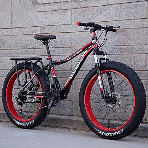 Fat Man Bicicleta de montaña Ancha y Gruesa Neumático Grande Velocidad Variable Amortiguador Bicicleta de Nieve Playa Off-Road Adultos Hombres y Mujeres Coche Doble, A1,26