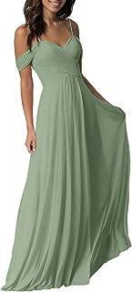 Long Cold Shoulder Pleated Chiffon Wedding Bridesmaid Dresses for Women B005