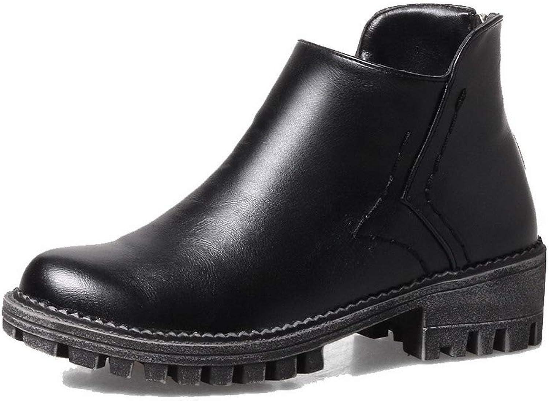 WeiPoot Women's Low-Top Zipper Pu Low-Heels Closed-Toe Boots, EGHXH125375