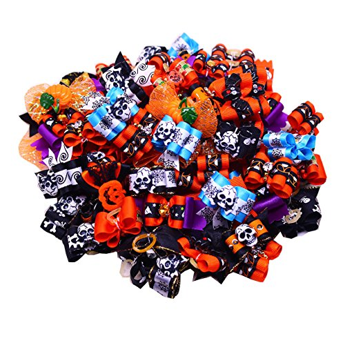 yagopet 50pcs/Pack Dog Hair Bows Halloween Styles Mixed Dog Bows for Holidays Rhinestone Centre Pet...