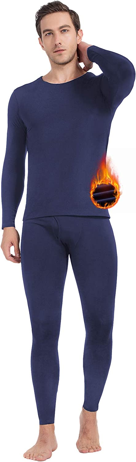 MANCYFIT Mens Thermal Underwear Seamless Long Johns Set Fleece Lined Base Layer with Long Sleeve