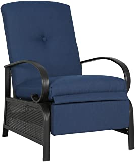 Iwicker Patio Outdoor Adjustable Recliner Chair with Cushion, Navy