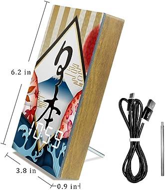Yoliveya Horloge de table LED de chevet Japon Feuille d'érable décorative Réveil numérique avec calendrier Température US