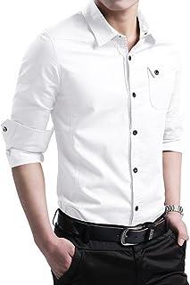 LOCALMODE Men's Military Slim Fit Dress Shirt Casual Long Sleeve Button Down Dress Shirts