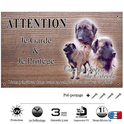 Pets-Easy.com Panneau Attention au Chien personnalisée Chien Estrela - pré percée et vis données. De 30 cm à 15 cm…