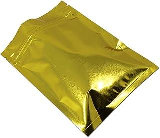 アルミホイル 包装袋 食品用 ジッパーバッグ ジップロックバッグ 再シール可能 12 x 20 cm 100枚 ゴールド