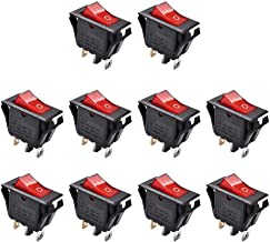 AutoEC On Off Rocker Switch, 10Pcs AC 15A/250V 20A/125V 3 Pin Mini SPST Toggle Switch, Use for Car Auto Boat Household Appliances