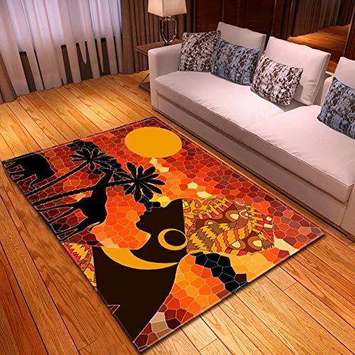 XiaoHeJD Nouveau Dessin Animé Femme Africaine Imprimé Tapis Salon Chambre Canapé Tapis Cuisine Tapis Tapis De Yoga Décor À La Maison, l19010429,121.9 * 160.0CM