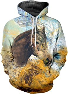 Animal Horse Sweatshirts for Women Cool Hoodies Pullover for Men with Designs