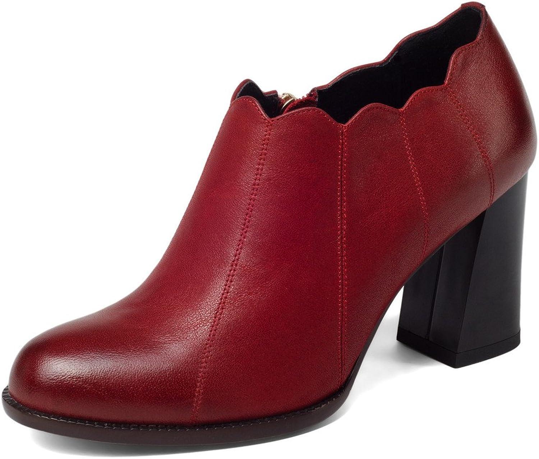 Nine Seven Genuine Leather Women's Round Toe Chunky Heel Elegant Business Handmade Trendy Pumps shoes