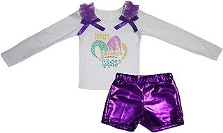 Petitebella Girls' Mardi Gras Hat White L/S Shirt Bling Short Set