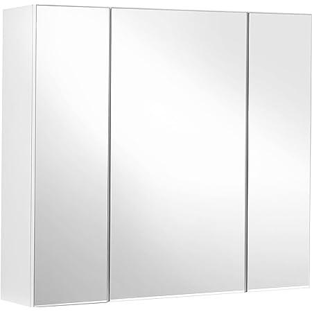 VASAGLE Armoire Murale Salle de Bain, Placard avec Miroir, Meuble de Rangement 3 Portes, 60 x 15 x 55 cm, avec étagère réglable, Moderne, Blanc BBK22WT