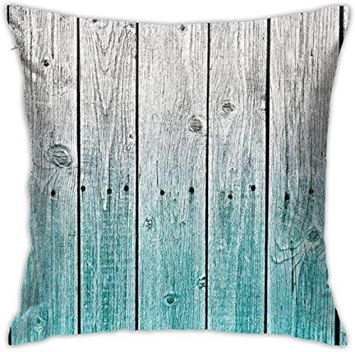 Rustic Decor Wood Panels Background with Digital Tones Effect Country House Image Teal Grey Throw Pillow Covers 18inch*18inch,Pillowcase Decorative - No Inserts Included