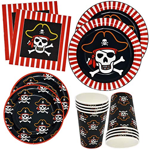 """Pirate Party Supplies Tableware Set 24 9"""" Plates 24 7"""" Plate 24 9 Oz Cups 50 Luncheon Napkins For Pirate Crossbone Skull Bandana Kids Disposable Dinnerware Girl Boy Birthday Party Decor Gift Boutique"""