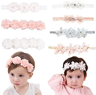 Baby Toddler Elastic Chiffon Flower Headbands Princess Girls Hand Sewing Beads Flower Headwear Nylon