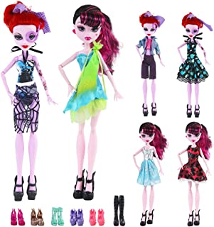 UCanaan 17Pcs Doll Clothes and Accessories for Monster high Dolls Includes 6 Sets Handmade Clothes + 6 Pair of Shoes